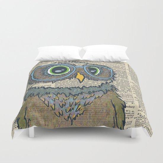 Owl wearing glasses Duvet Cover