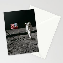 Astronaut Edwin E Aldrin Jr beside the deployed United States flag during an Apollo 11 extravehicular activity on the lunar surface Stationery Cards