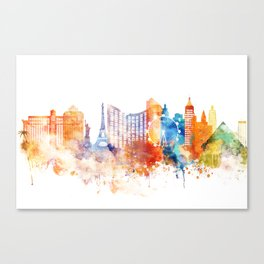 Las Vegas Watercolor Skyline Canvas Print