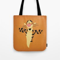 tigger Tote Bags featuring Winnie the Pooh Tigger Nursery Art Retro Style Minimalist Poster Print by The Retro Inc