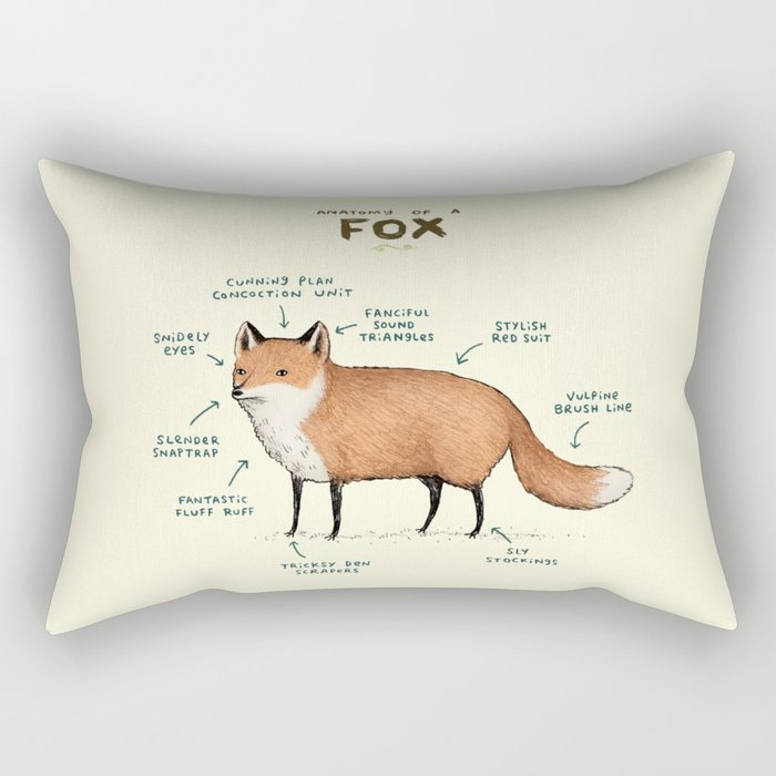 Anatomy of a Fox Rectangular Pillow