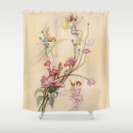 """Three Spirits Mad With Joy"" Art by Warwick Goble Shower Curtain"