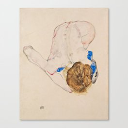 "Egon Schiele ""Nude with Blue Stockings, Bending Forward"" Canvas Print"