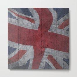 Union Jack Concrete wall Metal Print