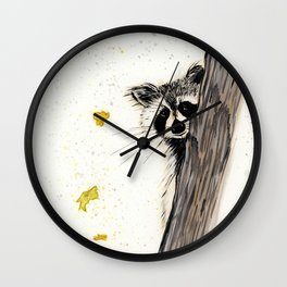 Rocky Raccoon - animal watercolor painting Wall Clock