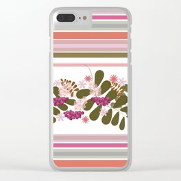 Floral, striped 1 Clear iPhone Case