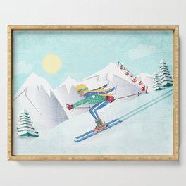 Skiing Girl Serving Tray