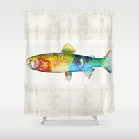 trout Shower Curtains featuring Rainbow Trout Art by Sharon Cummings by Sharon Cummings