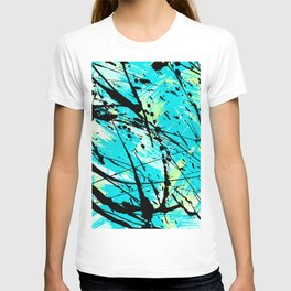 Abstract teal lime green brushstrokes black paint splatters T-shirt
