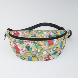 Watercolour Macaw Pattern Fanny Pack