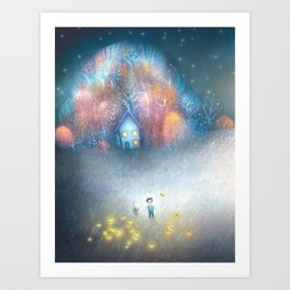 A Field of Fireflies Art Print