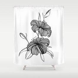 lilies Black & white Shower Curtain