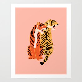 Two tigers, pink background Art Print