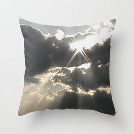 A Silver Lining // Clouds, Gray Art, Black & White Print, Storm Art Throw Pillow