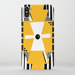 Black and White Squares and Stripes iPhone Case