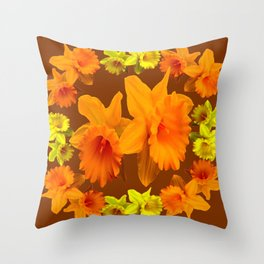 YELLOW SPRING DAFFODILS & COFFEE BROWN COLOR ART Throw Pillow