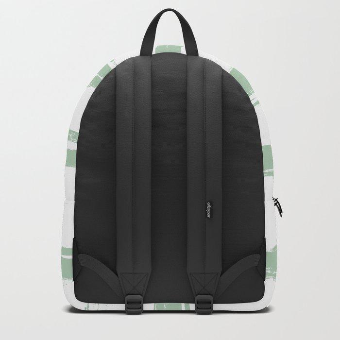 Swipe Stripe Pastel Cactus Green and White Backpack