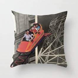 Family in Roller Coaster Throw Pillow