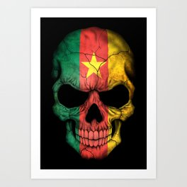 Dark Skull with Flag of Cameroon Art Print