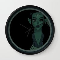 elf Wall Clocks featuring Elf by Desirae