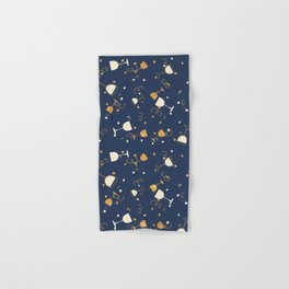 Chic navy blue faux gold glitter party time Hand & Bath Towel