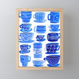 Coffee Mugs and Tea Cups - A study in blues Framed Mini Art Print