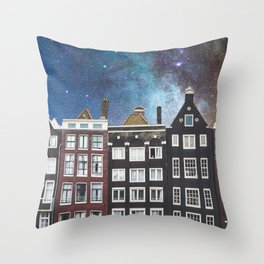 Amsterdam Nertherlands At Night-Canal Houses Throw Pillow