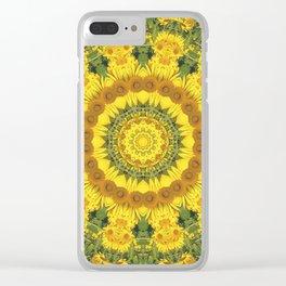 Sunflowers, Floral mandala-style, Flower Mandala Clear iPhone Case