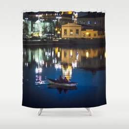 Night in the town Shower Curtain