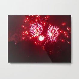 Triple burst Red Firework Metal Print