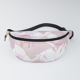 White lilies on pink background #decor #society6 Fanny Pack