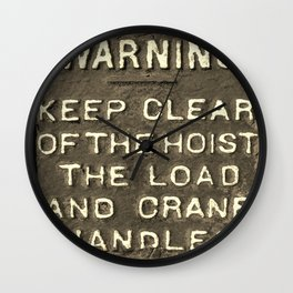 VICTORIAN WARNING SIGN KEEP CLEAR IN SEPIA Wall Clock