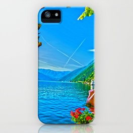 Flower-framed Lake Como iPhone Case
