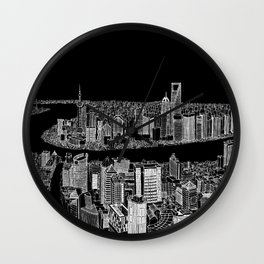 Shanghai in BW Wall Clock