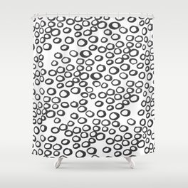 Hand painted monochrome rings pattern Shower Curtain