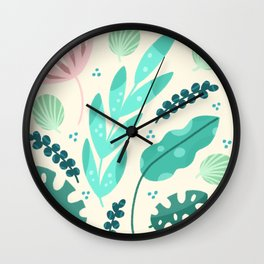 Tropical flora - pink and green  Wall Clock