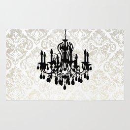 Chandelier Silhouette Metallic Damask Backdrop Rug