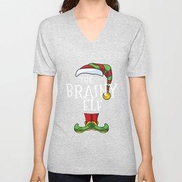 Brainy Elf Family Matching Christmas Group Funny Gift Pajama T-Shirt Unisex V-Neck