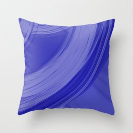 Sad semicircular rings of indigo fabric with misty ribbons intersections.  Throw Pillow