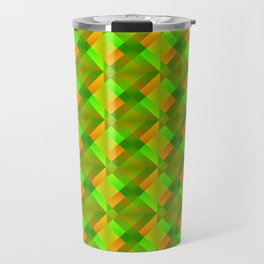 Cross shaped bright green squares and triangles in orange. Travel Mug