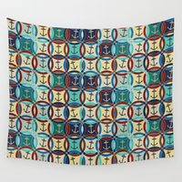 anchors Wall Tapestries featuring anchors by Sharon Turner