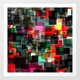 Red Black Green Square Overlay Pattern Design Art Print