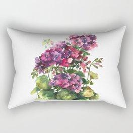 Watercolor geranium red pink flowers Rectangular Pillow