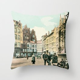Antwerp Belgium city center restored view around 1900 Throw Pillow