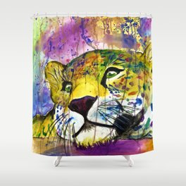 Daydreaming Leopard Shower Curtain