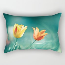 Teal Orange Nature Photography, Turquoise Yellow Tulips Photo, Aqua Teal Green Flower Art Print Rectangular Pillow