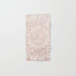 Mandala - rose gold and white marble 3 Hand & Bath Towel