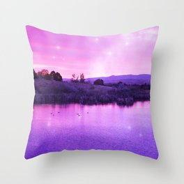 Purple Duck Sunset Throw Pillow