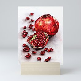 Red pomegranate watercolor art painting Mini Art Print