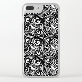 Project 389 | Black and White Swirls | Zentangle Clear iPhone Case